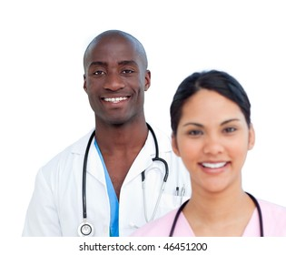 Portrait of two charismatic doctors against a white background