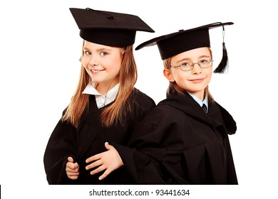 Portrait of two children in a graduation gown. Education. Isolated over white.  sc 1 st  Shutterstock & Graduation Gown Kids Images Stock Photos u0026 Vectors (10% Off ...