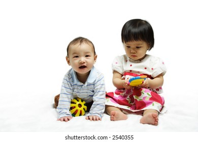 A portrait of two children playing together