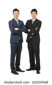 Portrait of a two Chinese Business men. Isolated on a white background.