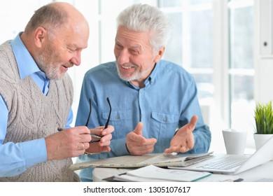 Portrait of two confident senior businessmen working