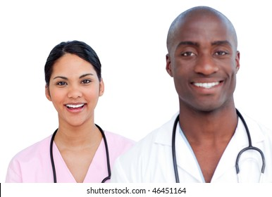 Portrait of two enthusiastic doctors against a white background