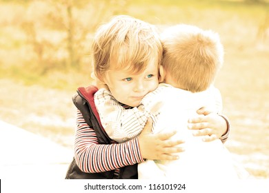 Portrait of two little brothers. Friendship and support