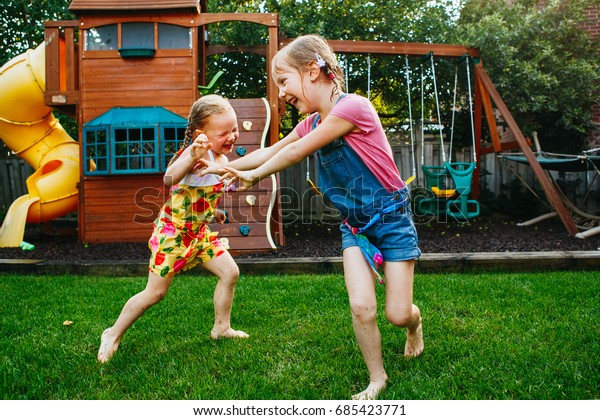 Portrait Two Little Girls Sisters Fighting Stock Photo ...