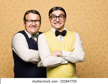 Portrait of two male nerds