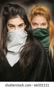 Portrait of two masked models.
