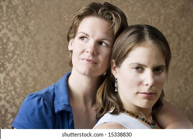 Portrait of Two Pretty Young Women Friends