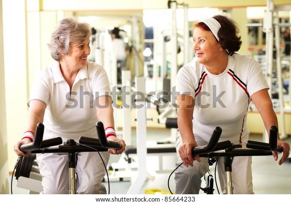 Portrait of two senior women in good form