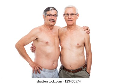 Portrait Of Two Shirtless Elderly Men Isolated On White Background