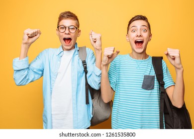 Portrait of two shocked teenagers, guys show victory gesture