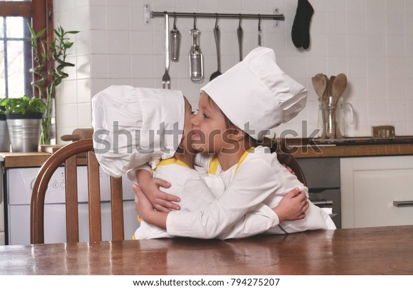 Portrait Two Sisters Kitchen Dressed Professional | People ...