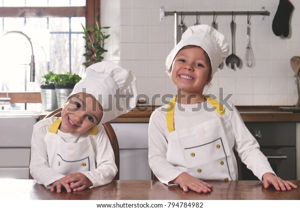 Portrait Two Sisters Kitchen Dressed Professional Stock ...