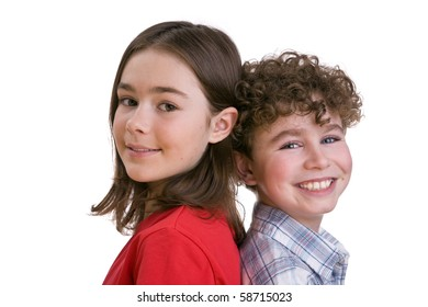 Portrait of two sitting kids isolated on white background