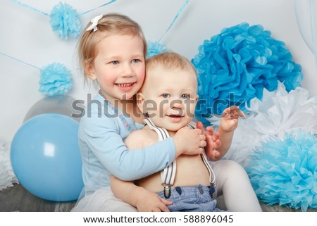 b3962fa6b Portrait Two Smiling Laughing Hugging Cute Stock Photo (Edit Now ...