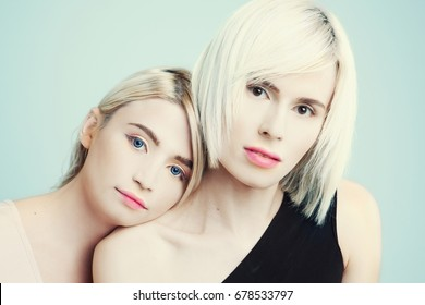 Portrait of two transgender girls