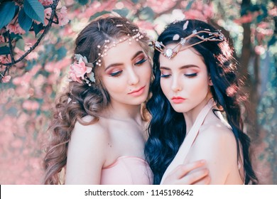 Portrait Two women face spring makeup closeup eyes. Blonde brunette woman long wavy hair. Handmade diadem. Background blooming sakura garden. Graduation image prom holiday ball. Fantasy elf sisters