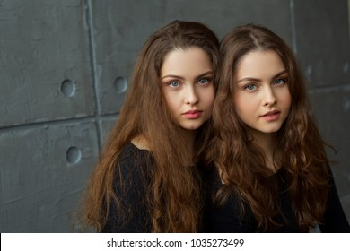 portrait of two young beautiful sisters twin girls with flowing hair on a gray wall background