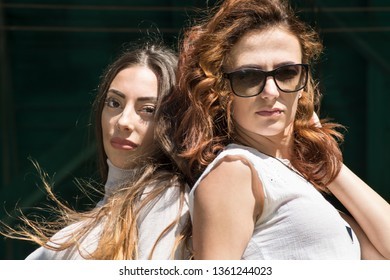 Portrait of two young fashionable women