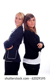 Portrait of Two Young and Nice Businesswoman