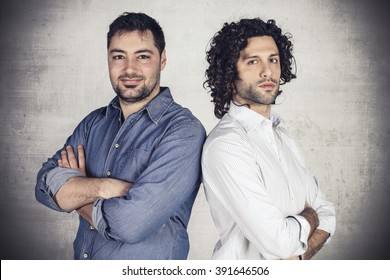 Portrait of two young self confident businessman