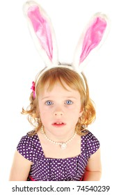 Portrait of a unhappy little rabbit  Easter girl  with pink ears on the white background.