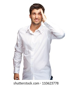 Portrait Of Unhappy Man On White Background