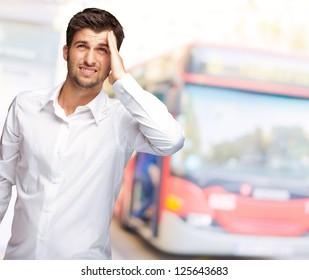 Portrait Of Unhappy Man, Outdoor