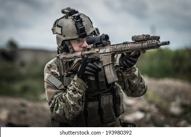 portrait of united states ranger on battle field