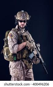 Portrait of US Army Soldier on Dark Background