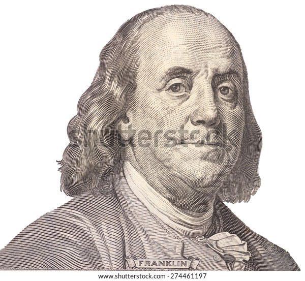 Portrait of  U.S. president Benjamin Franklin
