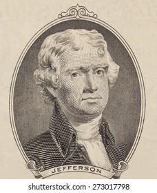 Portrait of  U.S. president Thomas Jefferson