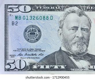 Portrait of US president Ulysses Simpson Grant on 50 dollars banknote closeup macro fragment. United states fifty dollars money bill