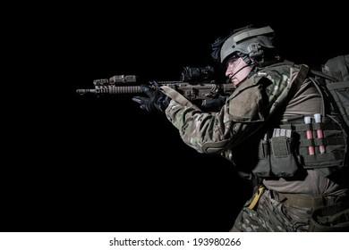 portrait of us ranger on black background