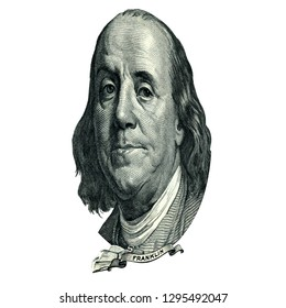 Portrait of U.S. statesman, inventor, and diplomat Benjamin Franklin as he looks on one hundred dollar bill obverse. Photo at an angle of 45 degrees.