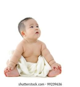 Portrait of a vegetarian breast feeding baby boy