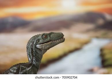 Portrait of a velociraptor