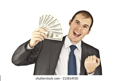 Portrait of very excited man with money