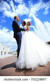 portrait of a very happy bride and groom