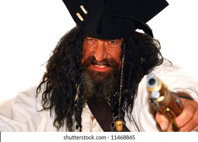 Portrait of a vicious medieval pirate (isolated on white)
