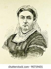 """Portrait of Victoria -  Queen of Great Britain and Ireland. Illustration by Alwin Zschiesche, published on """"Illustrierts Briefmarken Album"""", Leipzig, 1885."""