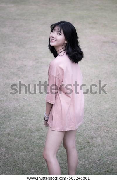 Portrait of vietnam high school teen beautiful girl happy in vintage style