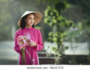 Portrait of Vietnam woman with Ao Dai