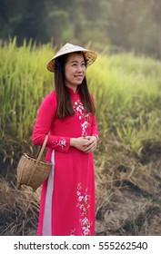 Portrait of Vietnam woman with Ao Dai, Vietnam traditional dress
