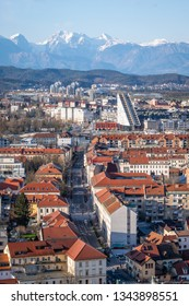 Portrait view from castle over old town Ljubljana to Kamnik–Savinja Alps in Slowenia, Europe
