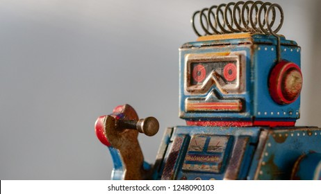 Portrait of a vintage robot toy collectible