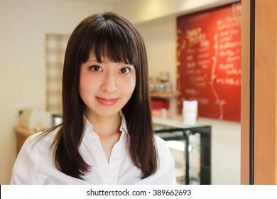 portrait waitress in a cafe