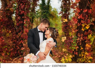 portrait of a wedding couple in autumn nature. they hug and pose