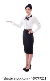 portrait of welcoming stewardess isolated on white background