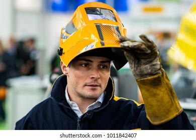 Portrait of welder with protective mask