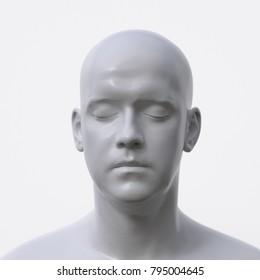 portrait of white artificial man, 3d illustration